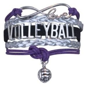 Girls Volleyball Bracelet - Purple & Silver